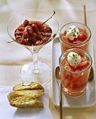 Wild strawberries in red wine & strawberries in Campari jelly