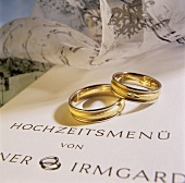 Wedding menu and wedding rings