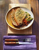 Veal breast with potato & mushroom stuffing, with vegetables