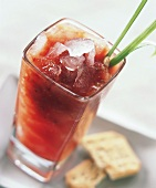 Ice-cold tomato drink