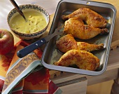 Chicken legs with spicy banana and apple sauce