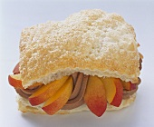 Puff pastry with nectarine and chocolate filling