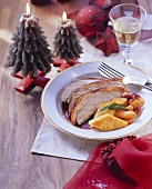 Stuffed turkey with vegetables and polenta diamonds