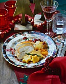 Stuffed turkey with vegetables and polenta stars