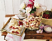 Cherry & marzipan striezel (plait) & coconut cherry cake