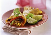 Tortilla with mince and vegetable filling