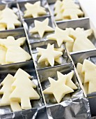 Peppermint cream stars and fir trees as gift
