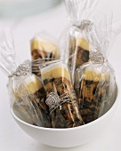 Gift-wrapped English fruit cake