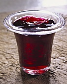 Red wine jelly in glass