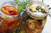 Mixed pickles and orange chutney