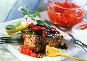 Beefsteak with fresh tomato sauce