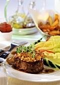 Beef fillet steak with mustard crust