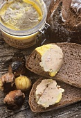 Bread with goose liver pate & roasted chestnuts (Corsica)