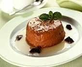Chocolate plum flan with mint