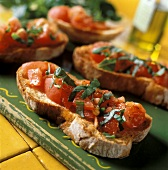Bruschette (toasted bread with tomatoes and basil, Italy)
