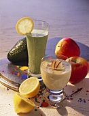 Pick-me-ups: apple yoghurt drink & avocado & spinach drink