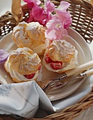 Cream puff with raspberry and cream filling