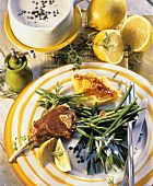 Lamb chop with potato gratin and French beans