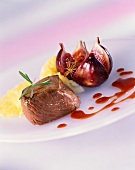 Saddle of venison medallion with fig sauce