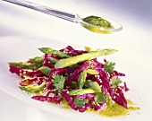 Beetroot noodles with green asparagus & coriander pesto
