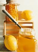 Orange marmalade and bottled oranges