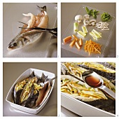 Stuffing sea bass with julienne vegetables