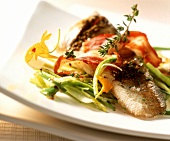Pike-perch with bacon and leeks
