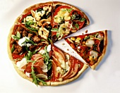 Pizza with six different toppings