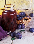 Bottled and fresh plums