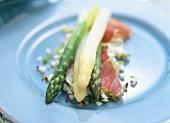 Asparagus with ham on apple and pepper vinaigrette