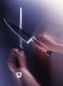 Sharpening a knife with a whet steel