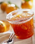 Mandarin jam in jar