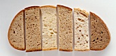 Various types of bread in the shape of a slice of bread