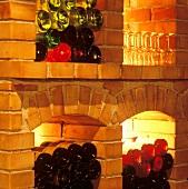 Wine bottles and wine glasses in wine rack