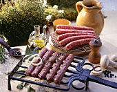 Still life with grilled sausages