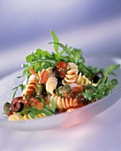Fusilli rucola e capperi (Fusilli with rocket & caper flowers)
