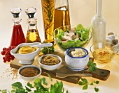 Still life with mustard, horseradish and salad dressings