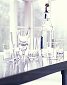 Still life with a water bottle and glasses