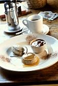 Coffee ice cream, coffee mousse & coffee panna cotta