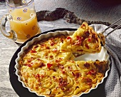Onion quiche with bacon