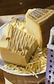 Emmental and Gruyere cheese, pieces and grated