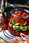 Mixed pickles with tomatoes, onions and courgettes