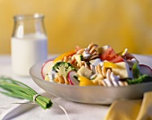 Pasta salad with cheese, vegetables and yoghurt dressing