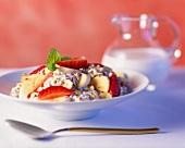 Muesli with strawberry and banana
