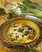Meatballs with vegetable rice