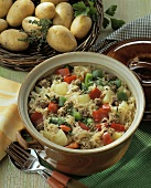 Sauerkraut and vegetable stew with mince