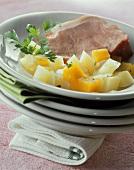 Smoked pork rib (Kasseler) with pumpkin