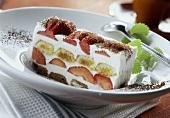 A piece of strawberry tiramisu