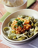 Pasta con le lenticchie (Green tagliatelle with lentil sauce)