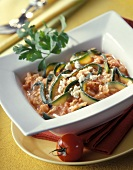 Courgette strips with tomato sauce & sheep's cheese